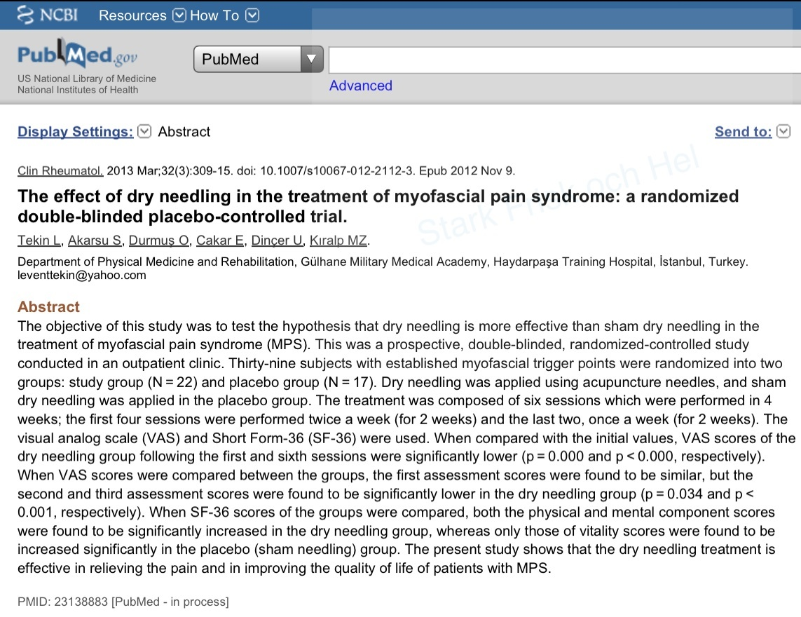 PubMed Dry Needling
