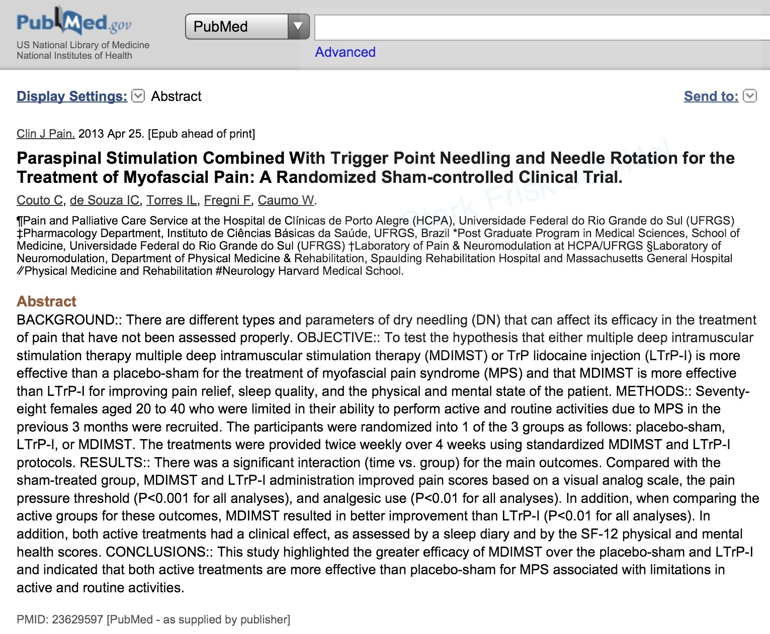 PubMed Dry Needling Myofasciell Smärta Rygg