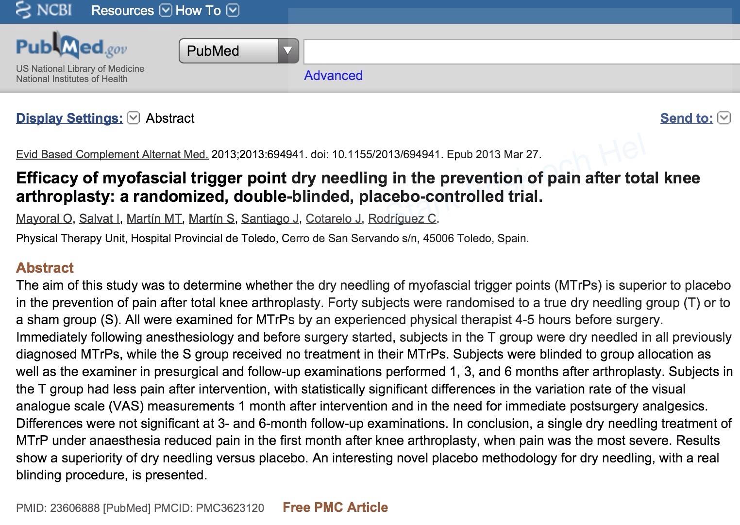 PubMed Dry Needling Smärta efter kirurgi