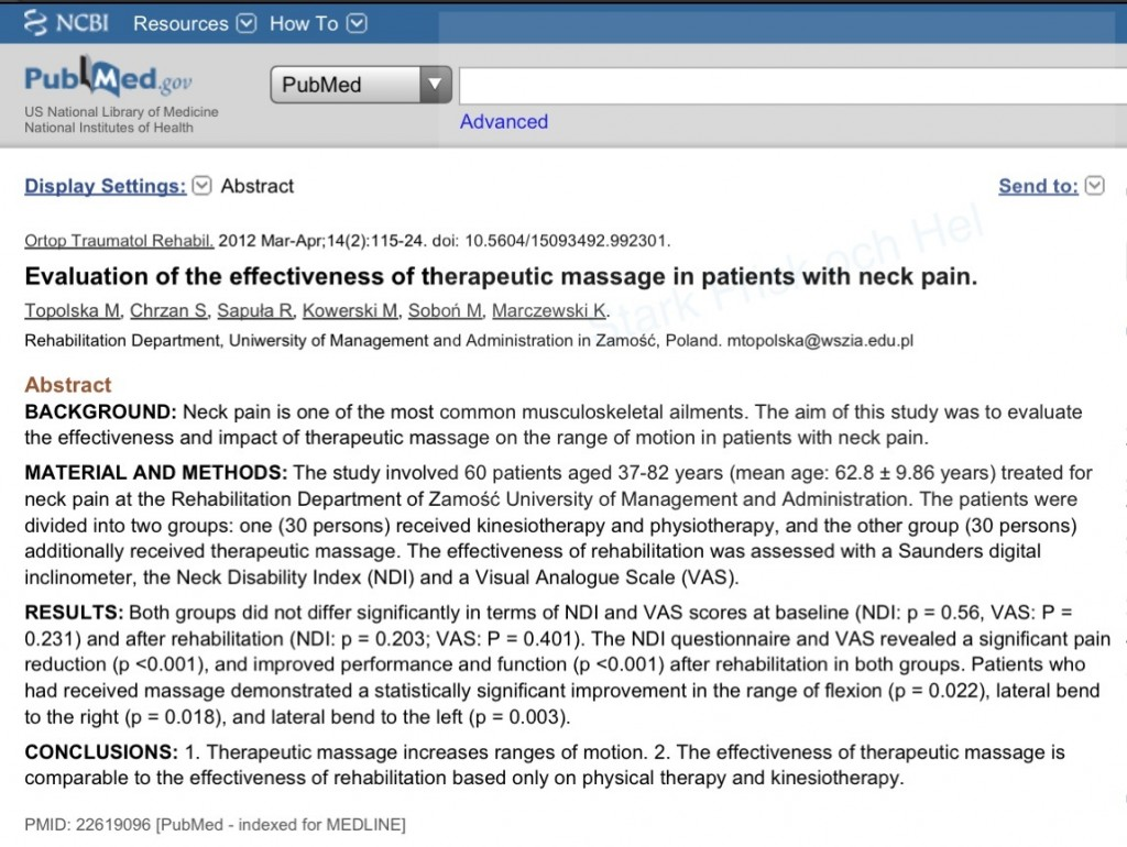 PubMed Massage ROM