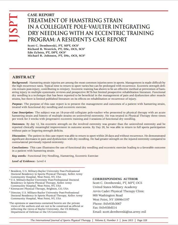IJSPT Dry Needling Hamstring Strain